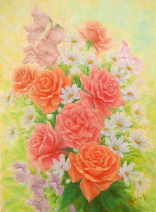 Roses and Marguerites - Painting,  33.4x24.3x1.6 cm ©2017 by Kyoko Yamaji -                                                            Impressionism, Canvas, Flower, flowers, roses, margaret, bouquet