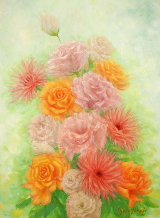 Spring Flowers - Painting,  33.4x24.3x1.6 cm ©2017 by Kyoko Yamaji -                                            Impressionism, Flower, flowers, spring, pink, yellow, roses