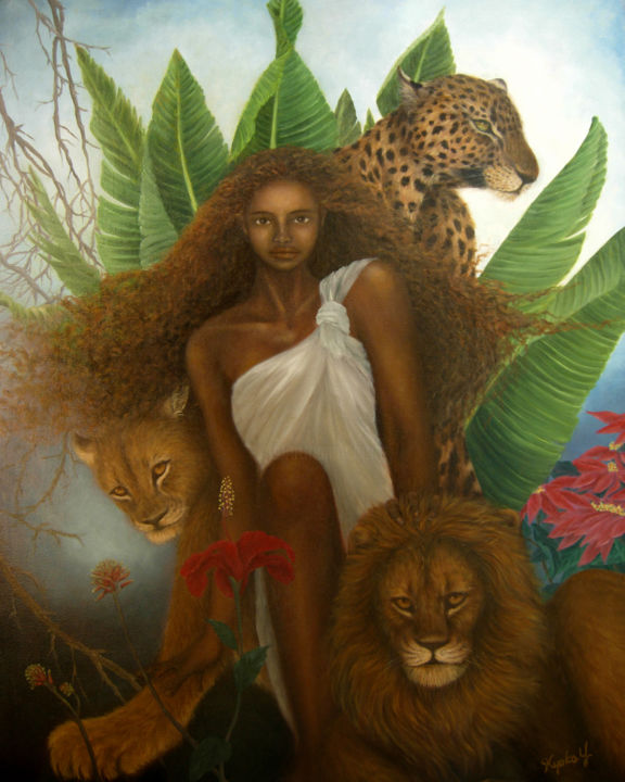 Commandments - © 2003 Africa, wild animals, leopard, lion, woman, lady, savanna, wild cats Online Artworks