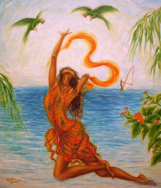 Caribbean Joy II - Painting,  53x45.5 cm ©2006 by Kyoko Yamaji -                                                            Impressionism, Canvas, Beach, woman, girl, dance, beach, Caribbean
