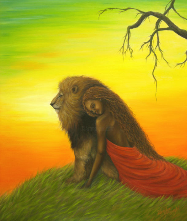 Hope - © 2004 Africa, savanna, wild animals, lion, woman, lady, girl, love, romance Online Artworks