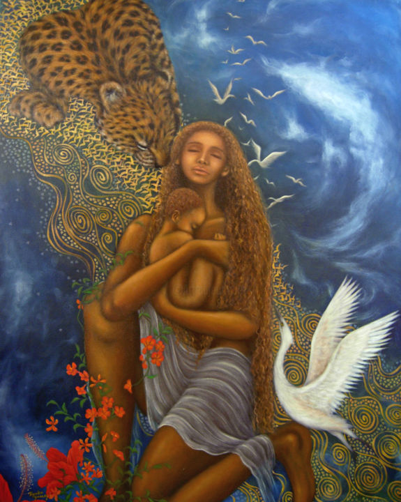To My Unborn Child - Painting,  2.5x72.7x90.9 cm ©2008 by Kyoko Yamaji -                                            Contemporary painting, Fantasy, Africa, woman, lady, baby, mother, baby, leopard, heaven, love