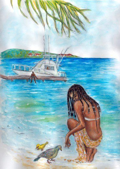 Caribbean Scene III - © 2006 Caribbean, beach, woman, girl Online Artworks