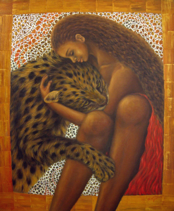 When you lose - Painting,  53x45.5 cm ©2005 by Kyoko Yamaji -                                            Contemporary painting, Animals, Africa, woman, girl, lady, leopard, wild animal, wild cat, love