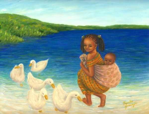 Little Babysitter - Painting,  9x12 in, ©2009 by Kyoko Yamaji -                                                                                                                                                                                                                          Naive Art, naive-art-948, Children, Painting of African little babysitting girl enjoying with ducks.