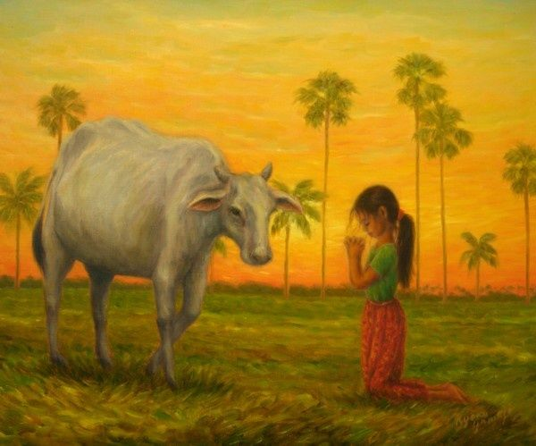 Pray for the Better Life - Painting,  14.9x17.9 in, ©2009 by Kyoko Yamaji -                                                                                                                                                                                                                                                                                                                                                                                                                                                      Impressionism, impressionism-603, Cows, Cambodia, child, girl, animal, cow, nature