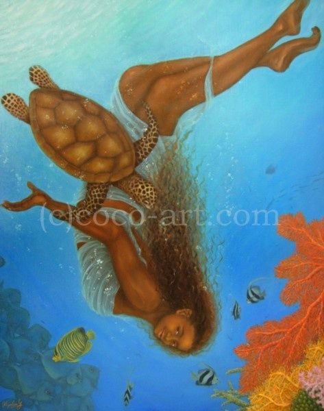 Should we go? - Painting,  2.5x72.7x90.9 cm ©2008 by Kyoko Yamaji -                                            Contemporary painting, Water, woman turtle fish underwater sea ocean marine tropical blue diving swimming