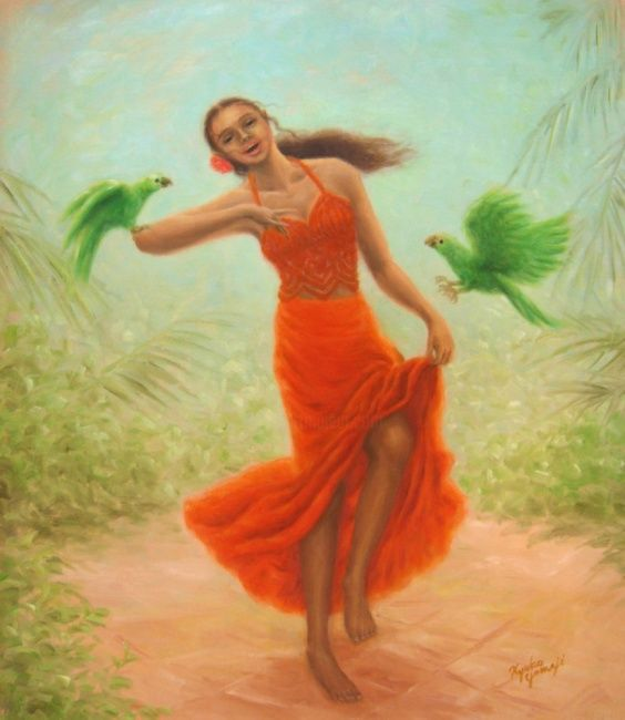 Dance with Parrots - Painting,  53x45.5 cm ©2009 by Kyoko Yamaji -                                                            Impressionism, Canvas, Women, Caribban, woman, girl, dance, amazon, parrot, bird, animal