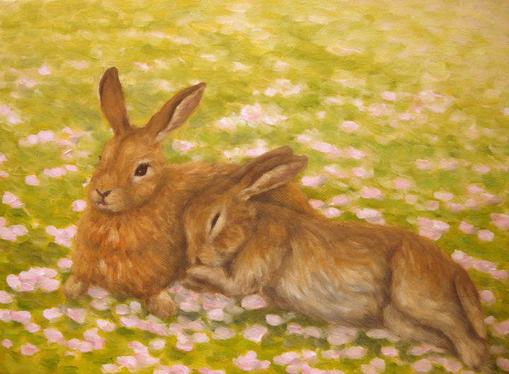 Time for a nap - Painting,  0.2x13.2x9.6 in, ©2011 by Kyoko Yamaji -                                                                                                                                                                                                                                                                                                                                                              Impressionism, impressionism-603, Animals, rabbits, animal, cherry field, spring