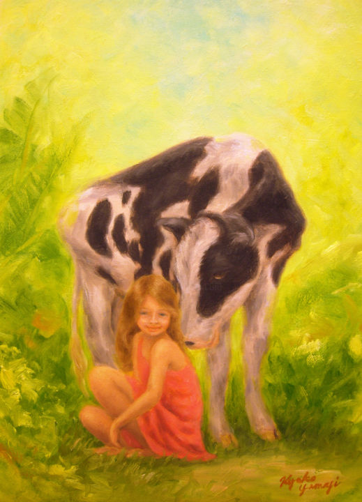 Kissing Calf - © 2011 calf, cow, animal, girl, child, nature Online Artworks