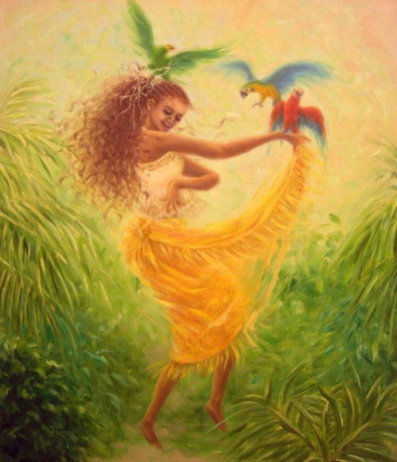 Dance with parrots - Painting,  53x45.5 cm ©2011 by Kyoko Yamaji -                                                            Impressionism, Canvas, Women, Caribban, woman, girl, dance, amazon, parrot, bird, animal