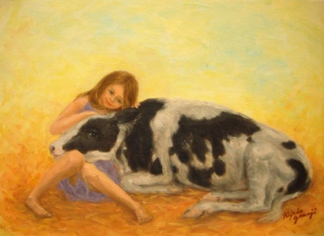Happy Calf - Painting,  24.3x33.4 cm ©2011 by Kyoko Yamaji -                                                            Impressionism, Canvas, Animals, girl, child, cow, calf, animal