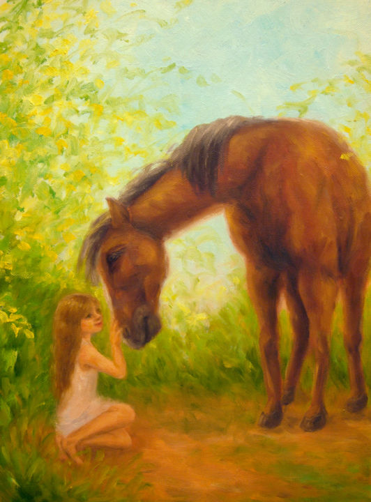 Girl and Horse - © 2011 girl, child, horse, animal, nature Online Artworks