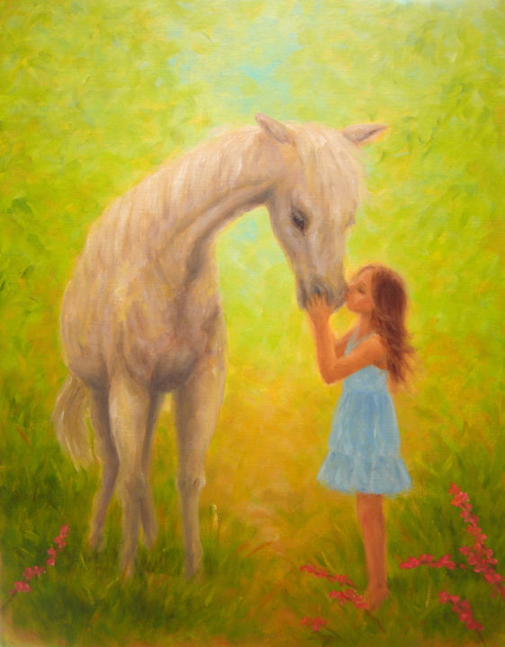Little Girl Kissing White Horse - Painting,  41x32 cm ©2012 by Kyoko Yamaji -                                                            Impressionism, Canvas, Horses, little girl, child, white horse, horse, animal, nature