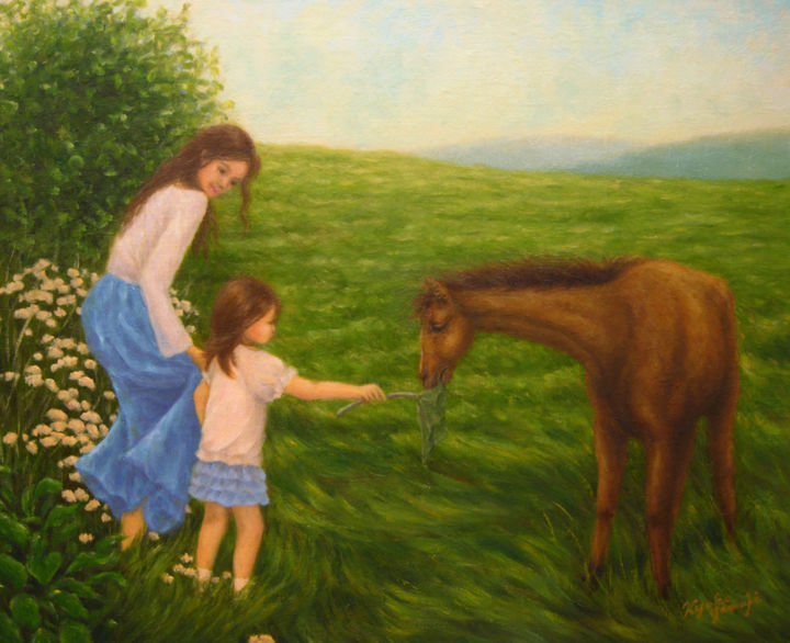 younghorse.jpg - Painting,  37.9x45.5 cm ©2013 by Kyoko Yamaji -                                                            Impressionism, Canvas, Family, horse, animal, girl, child, mother, woman, family, nature