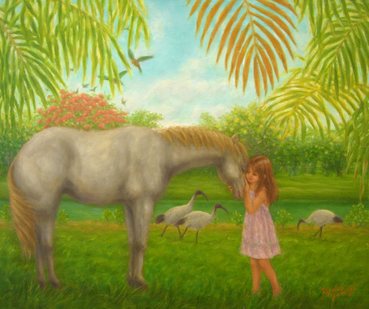 Girl and White Horse - Painting,  0.6x14.9x17.9 in, ©2014 by Kyoko Yamaji -                                                                                                                                                                                                                                                                                                                                                                                                                                                      Naive Art, naive-art-948, Horses, horse, girl, child, animal, nature, garden
