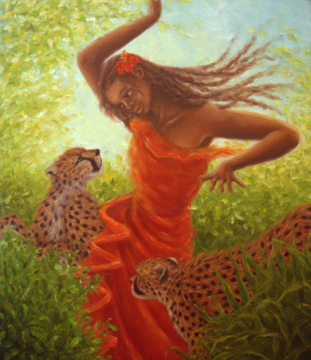 Dance with Cheetahs - Painting,  45.5x2x53 cm ©2008 by Kyoko Yamaji -                                                            Impressionism, Canvas, Animals, Africa, African, savanna, wild animals, wild cats, cheetahs, woman, girl, dance, afrocentric