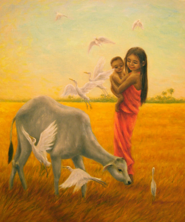 Golden Field - Painting,  1.5x37.9x45.5 cm ©2011 by Kyoko Yamaji -                                            Impressionism, Airplane, children, child, girl, baby, animals, cow, calf, nature, Asia, Cambodia
