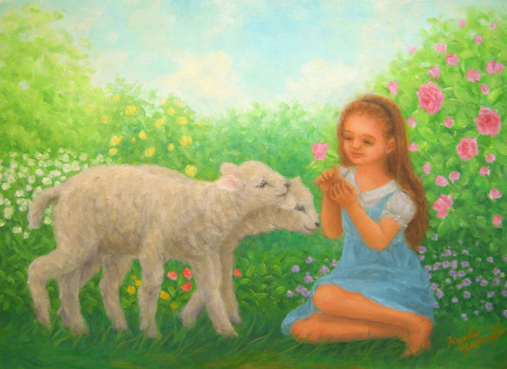 Little girl and young sheep - Painting,  1x33.4x24.3 cm ©2014 by Kyoko Yamaji -                                                                        Impressionism, Canvas, Animals, Children, girl, children, animal, sheep, lumb, nature, rose, garden, flower