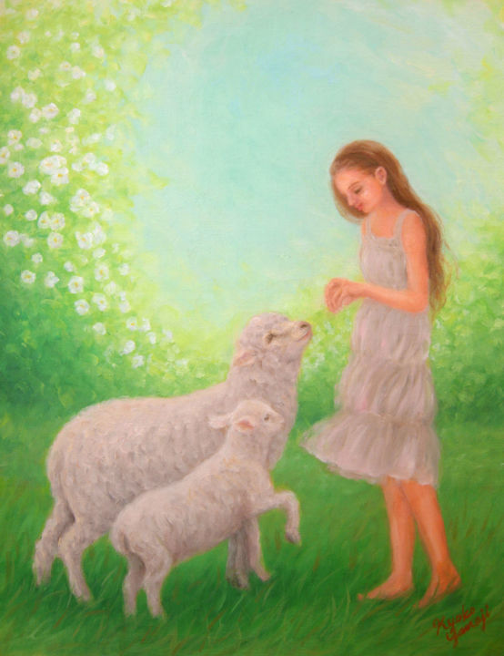 White Garden - © 2014 animal, sheep, lamb, girl, children, garden, rose, flower, peace, heaven Online Artworks