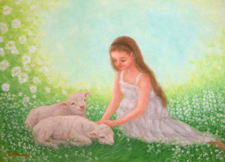 White Garden - ©  animal, sheep, lamb, girl, children, nature, rose, garden Online Artworks