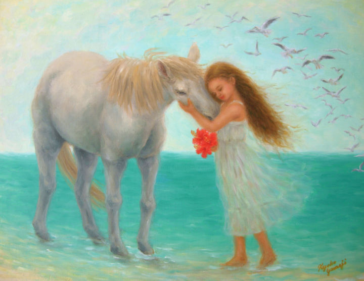 White Ceremony - Painting,  1.5x40.9x31.5 cm ©2014 by Kyoko Yamaji -                                                                                                Impressionism, Canvas, Animals, Beach, Children, Horses, animal, horse, girl, children, sea, beach