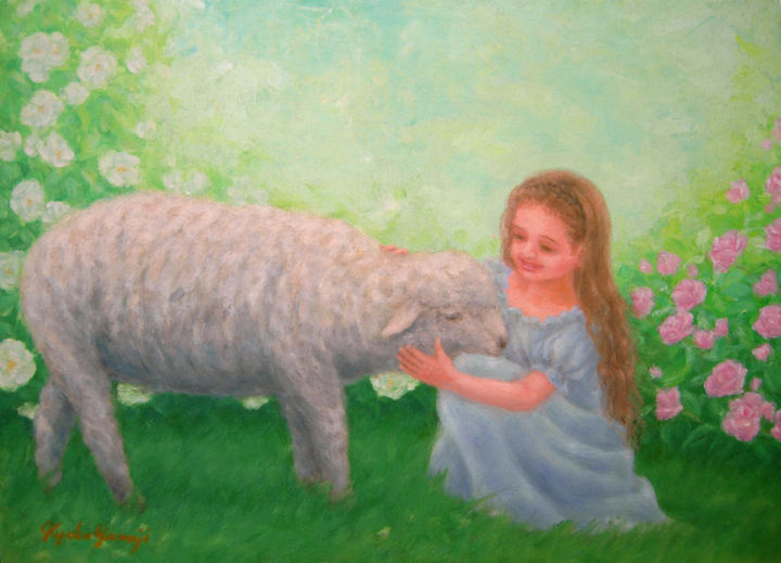 Girl and Sheep - © 2015 young girl, sheep, animals, rose garden, fantasy Online Artworks