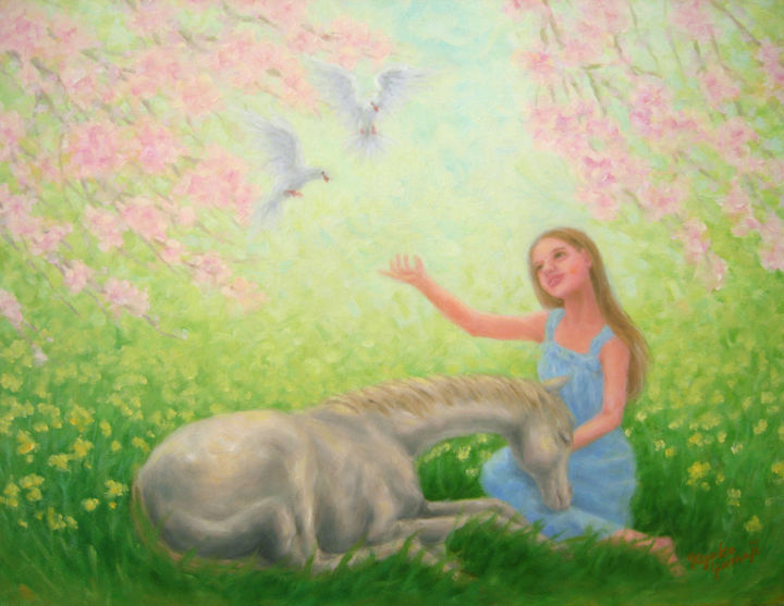 Blissful Spring - Painting,  32x41x1 cm ©2015 by Kyoko Yamaji -                                                            Realism, Canvas, Animals, white horse, animals, white doves, young girl, spring, flower garden, peace