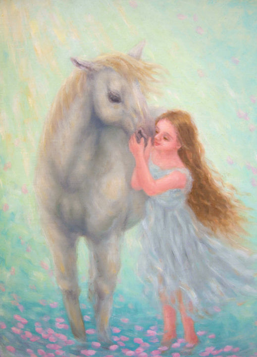 Blissful Fantasy - Painting,  33.4x24.3x1 cm ©2015 by Kyoko Yamaji -                                                                        Impressionism, Realism, Canvas, Animals, white horse, animal, young girl, fantasy, peace