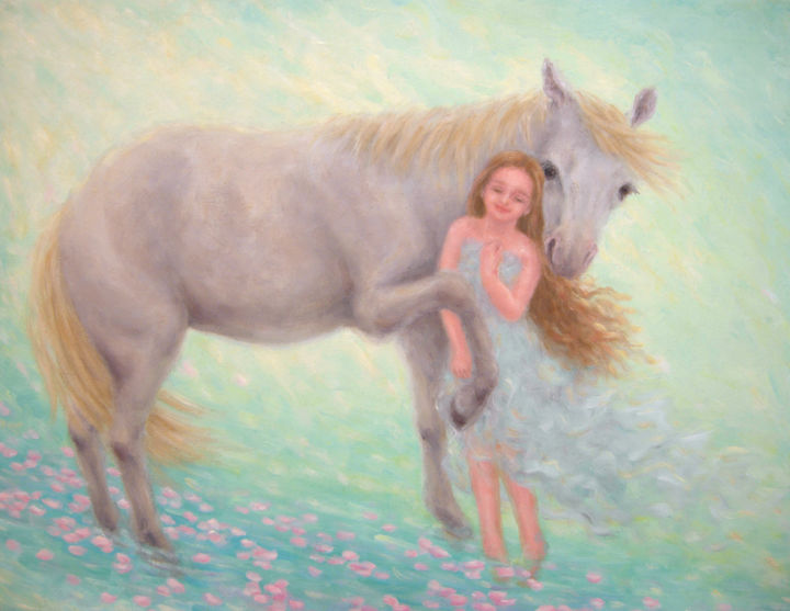 Blissful Fantasy - Painting,  38x45.5x1 cm ©2016 by Kyoko Yamaji -                                                            Impressionism, Canvas, Animals, white horse, animal, young girl, fantasy, love, peace