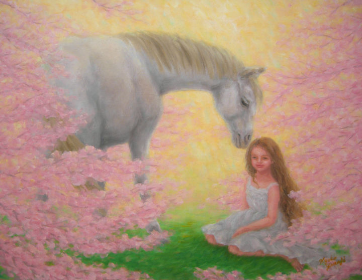 Blissful Spring - Painting,  32x41x1 cm ©2015 by Kyoko Yamaji -                                                                        Impressionism, Realism, Canvas, Animals, white horse, animal, young girl, spring, fantasy, cherry blossom, garden