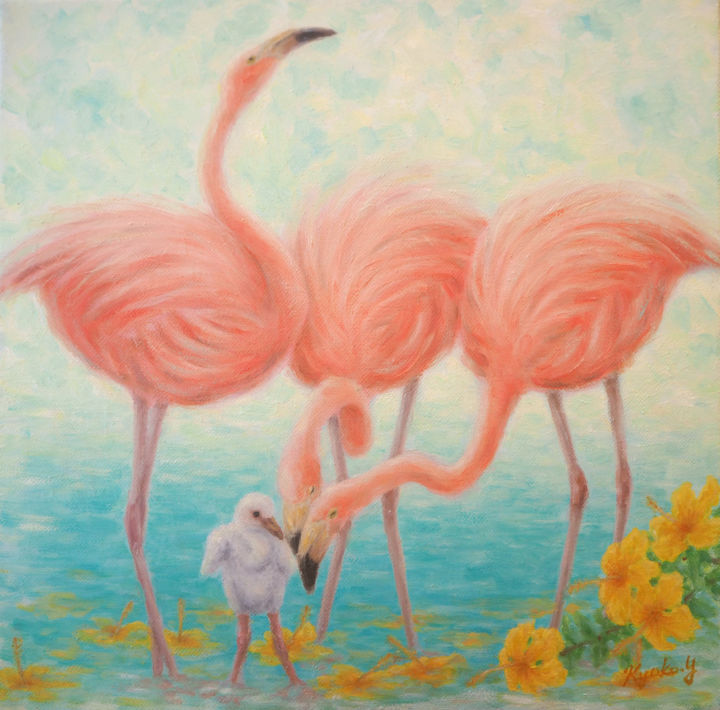 Flamingos - Painting,  30x30x1.5 cm ©2016 by Kyoko Yamaji -                                                                        Impressionism, Canvas, Animals, Birds, Flamingos, Pink, Tropical, nature