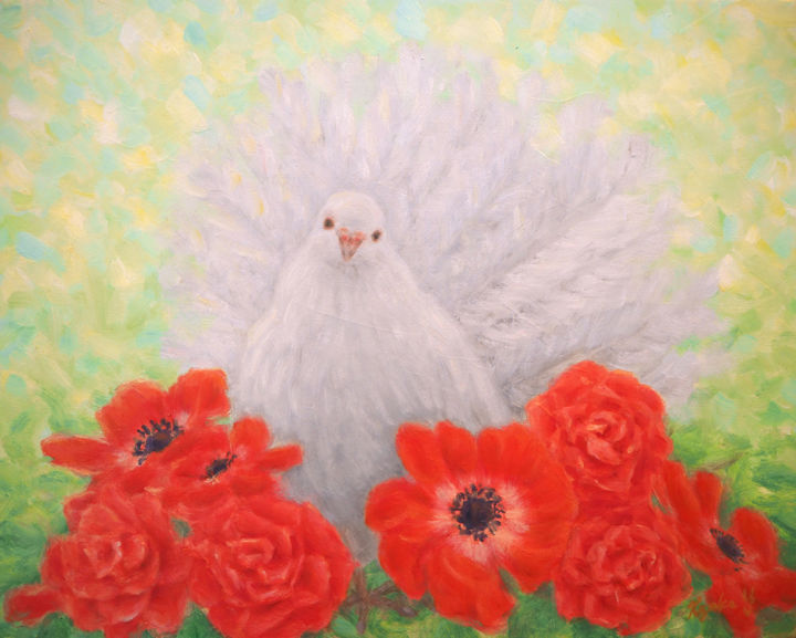 White Dove in Red - Painting,  27.3x22x1 cm ©2016 by Kyoko Yamaji -                                                                                                            Impressionism, Symbolism, Canvas, Animals, Birds, Flower, Spirituality, white dove, peace, red flowers