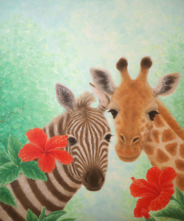 Zebra and Giraffe - Painting,  65.2x53x2.5 cm ©2016 by Kyoko Yamaji -                                                            Naive Art, Canvas, Animals, African, wild animals, savanna, Giraffe, Zebra
