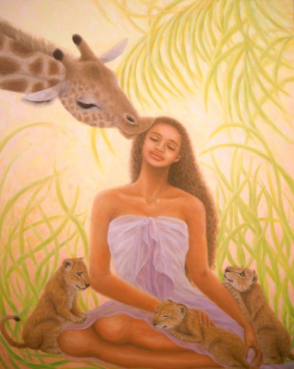 Happiness - Painting,  90.9x72.7x3 cm ©2016 by Kyoko Yamaji -                                                                        Symbolism, Canvas, Animals, Women, animals, giraffe, lion, cubs, Africa, savanna, peace