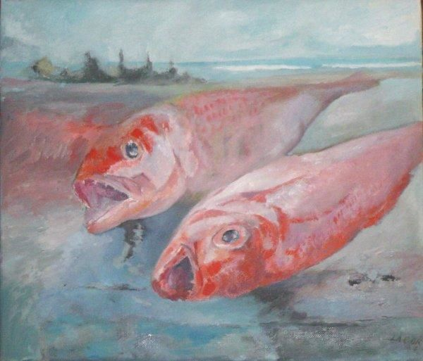 poissons flammes - Painting,  15.4x13.4 in ©2007 by LABOR -            Array