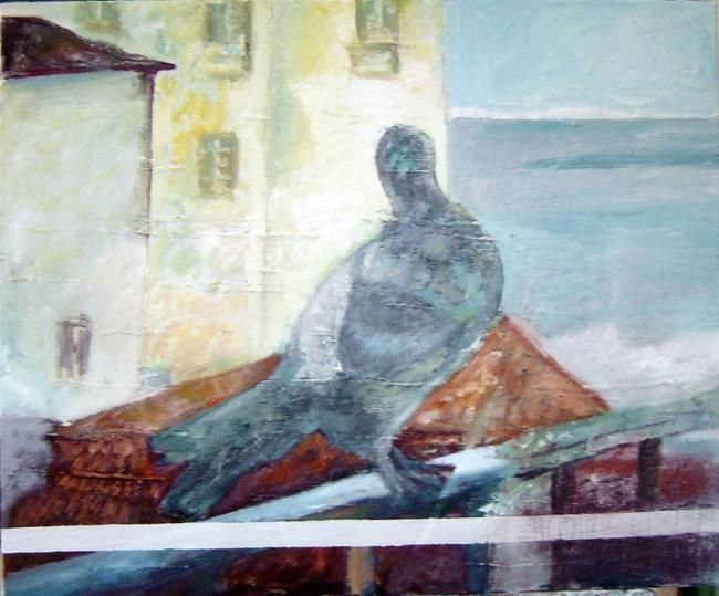 Pigeon sur les toits - Painting,  24x18.1 in ©2007 by LABOR -                        Contemporary painting