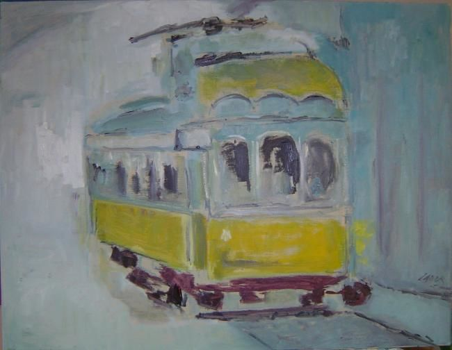 Le Tram 28 - Painting,  25.6x19.7 in ©2007 by LABOR -                        Contemporary painting