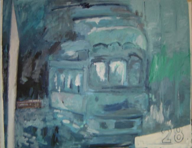 Tram bleu variations - Painting,  25.6x19.7 in ©2007 by LABOR -                        Contemporary painting