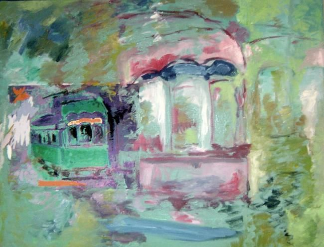 Tram Caroussel Lisbonne ( Variations) - Painting,  25.6x19.7 in ©2007 by LABOR -                        Contemporary painting