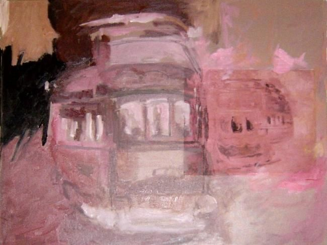 Tram Rose Lisbonne ( variations) - Painting,  25.6x19.7 in ©2007 by LABOR -                        Contemporary painting
