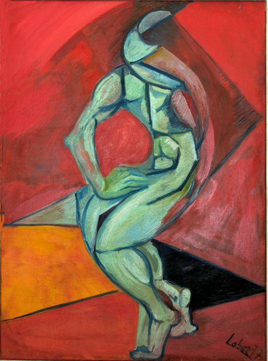 accident vertige - Painting,  39.4x28.7 in ©1977 by LABOR -                        Cubism
