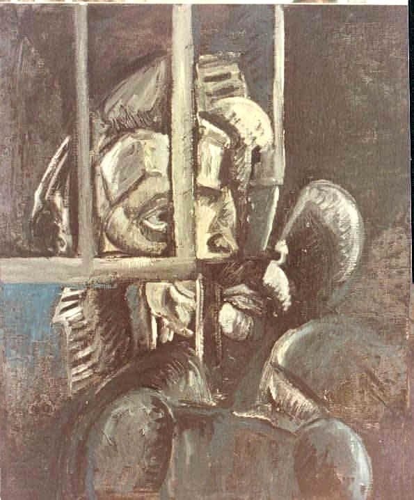 Apartheid - Painting,  25.6x21.3 in ©1980 by LABOR -                            Abstract Expressionism, Array