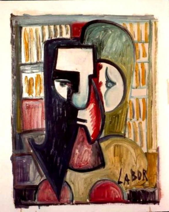 Le Bibliothecaire.. Et j'ai lu tous les livres.... - Painting,  25.6x19.7 in ©1980 by LABOR -                            Abstract Expressionism, Array