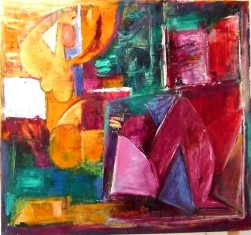 Magnificat - Painting,  37x34.3 in ©1989 by LABOR -                        Abstract Expressionism