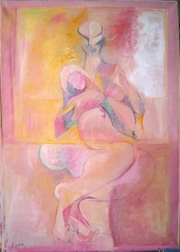 Femme 2 - Painting,  39.4x35 in ©1987 by LABOR -                            Abstract Expressionism, Array