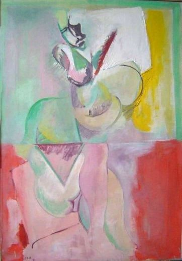 femme 4 - Painting,  39.4x35 in ©1987 by LABOR -                        Abstract Expressionism