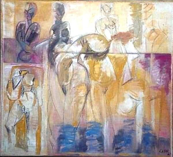 Maternité 1 - Painting,  40.6x39.8 in ©1978 by LABOR -                            Abstract Expressionism, Array