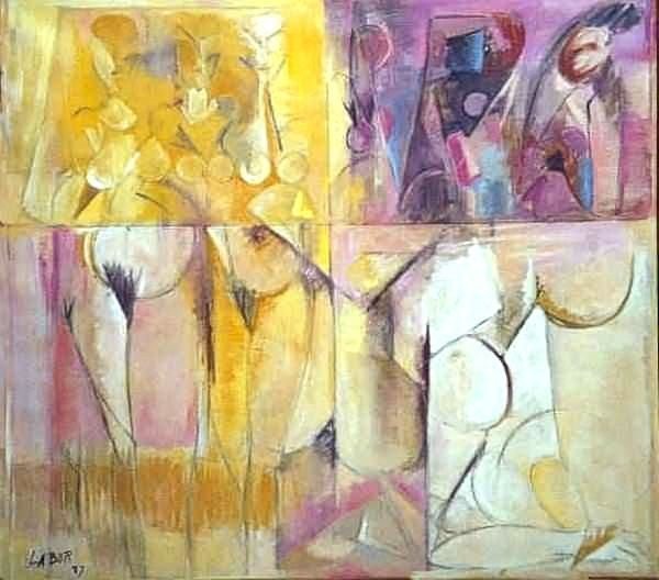 Maternité 3 - Painting,  40.6x39.8 in ©1987 by LABOR -                            Abstract Expressionism, Array