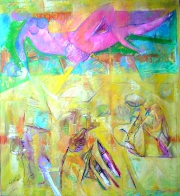 La joie de vivre - Painting,  41.7x39.8 in ©1987 by LABOR -                        Abstract Expressionism